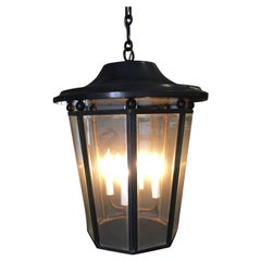 Large Modern 4-Light Lantern Chandelier with Acid Bronze Patina