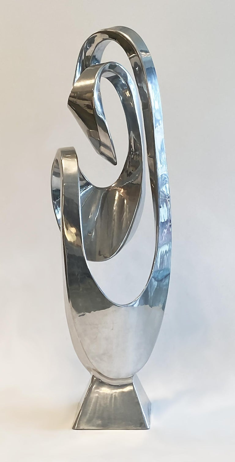 Large modern abstract aluminum sculpture by Bill Keating (b. 1932-), 1970s. Untitled signed on base