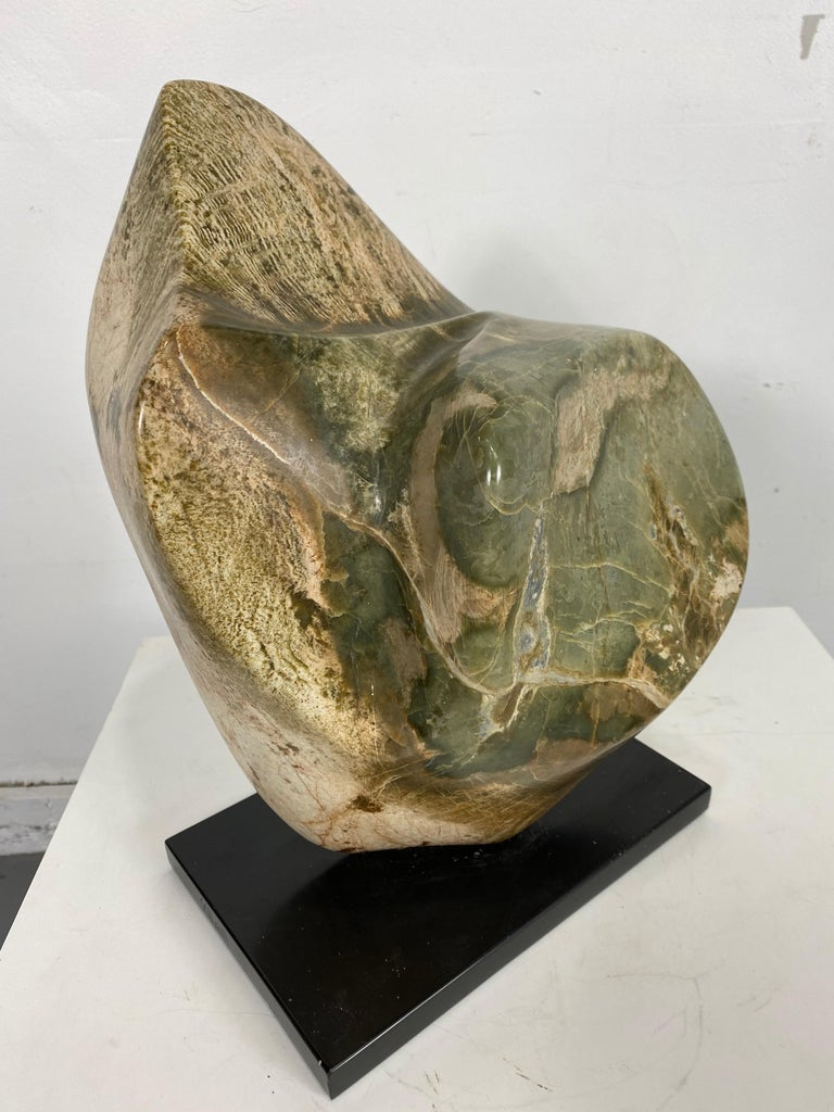 Hand-Carved Large Modern Abstract Marble Sculpture by Hans Schleeh