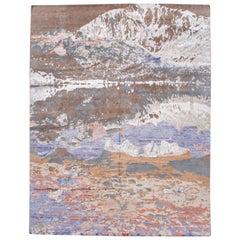Large Modern Abstract Wool and Silk Handmade Rug