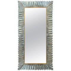Contemporary Large Murano Sea Green Glass Framed Mirror, In Stock
