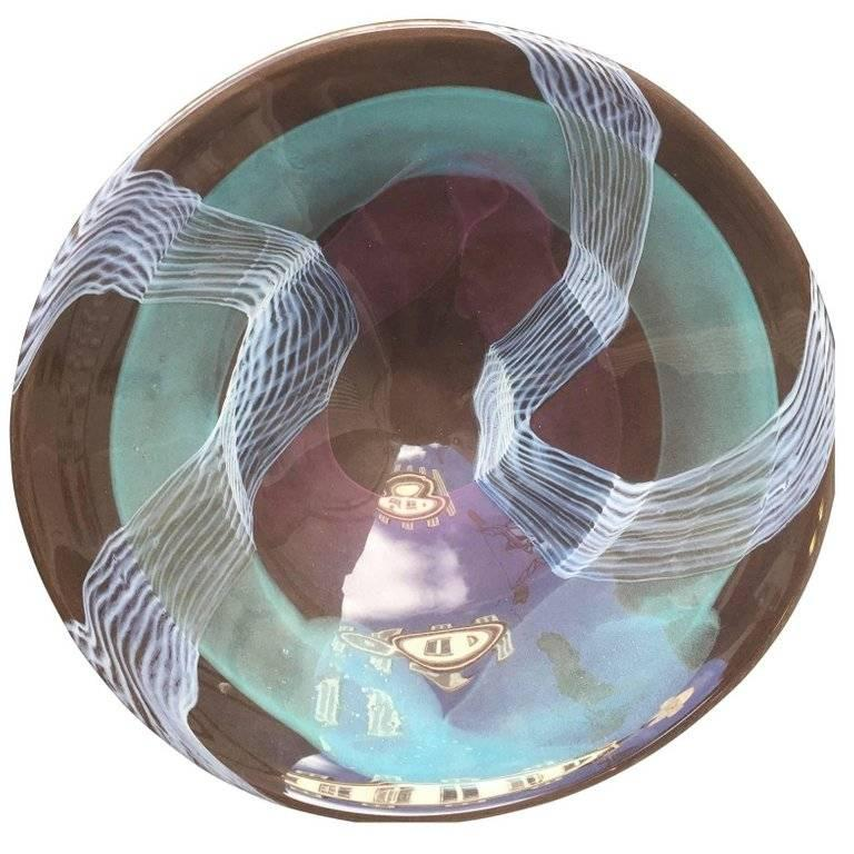 Large Italian Modern Art Glass Charger Centerpiece For Sale