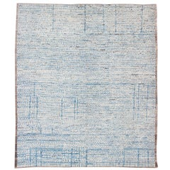 Large Modern Casual Design Rug with Hi-Low in white and Light Blue Pile
