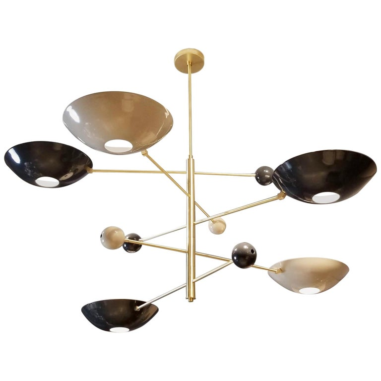 "Large, Modern ""Catalonia"" Chandelier in Enamel + Brass by Blueprint Lighting NYC For Sale"