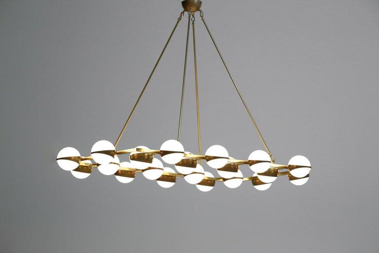 Large Modern Chandelier 20 Lights, Stilnovo Style For Sale 3