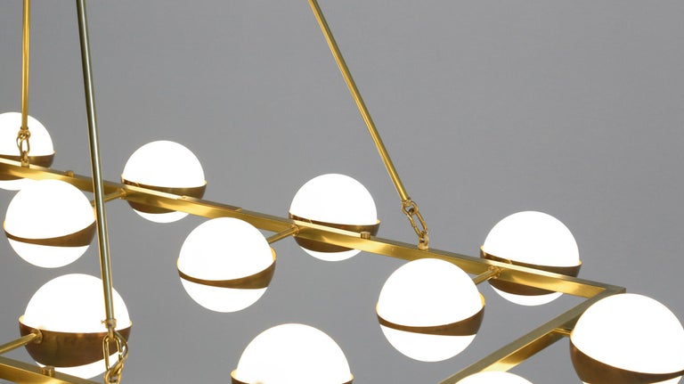 Large Modern Chandelier 20 Lights, Stilnovo Style For Sale 7