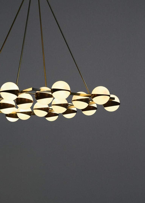 Mid-Century Modern Large Modern Chandelier 20 Lights, Stilnovo Style For Sale