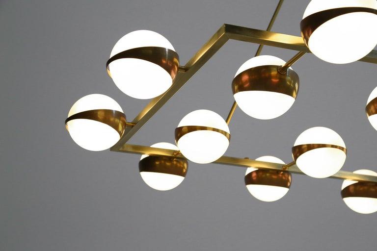 Brass Large Modern Chandelier 20 Lights, Stilnovo Style For Sale
