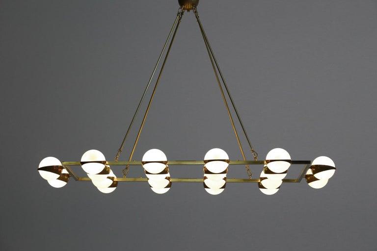 Large Modern Chandelier 20 Lights, Stilnovo Style For Sale 2