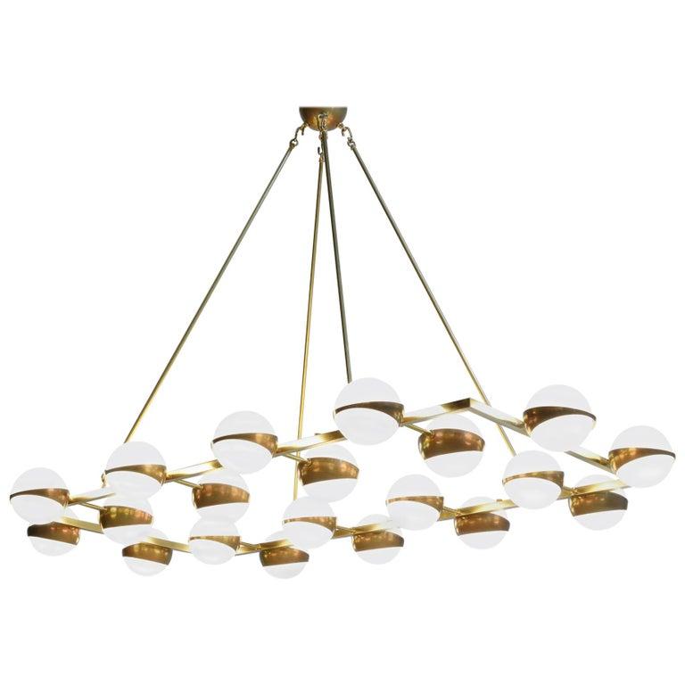 Large Modern Chandelier 20 Lights, Stilnovo Style For Sale