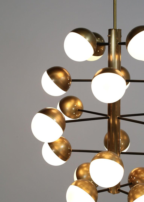 Large Modern Chandelier with 20 Lights, Italian Stilnovo Style For Sale 5