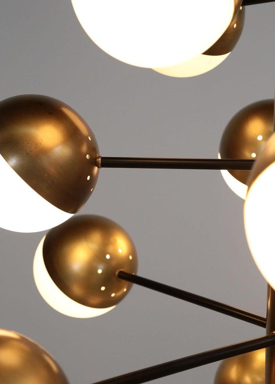 Large Modern Chandelier with 20 Lights, Italian Stilnovo Style For Sale 6