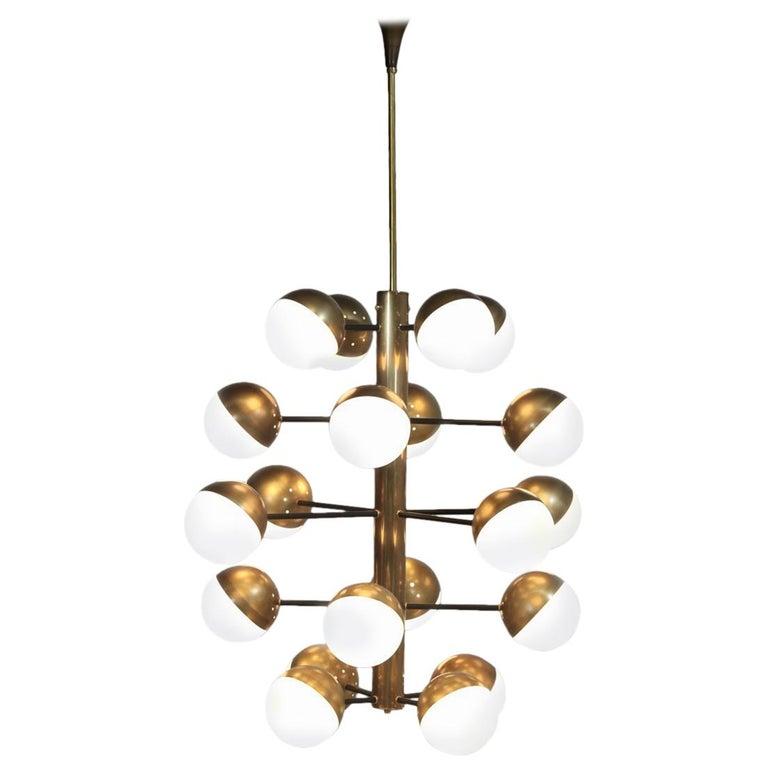 Large Modern Chandelier with 20 Lights, Italian Stilnovo Style For Sale