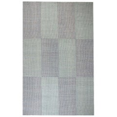 Large Modern Chessboard Pattern Blue and White Flat-Weave Wool Rug