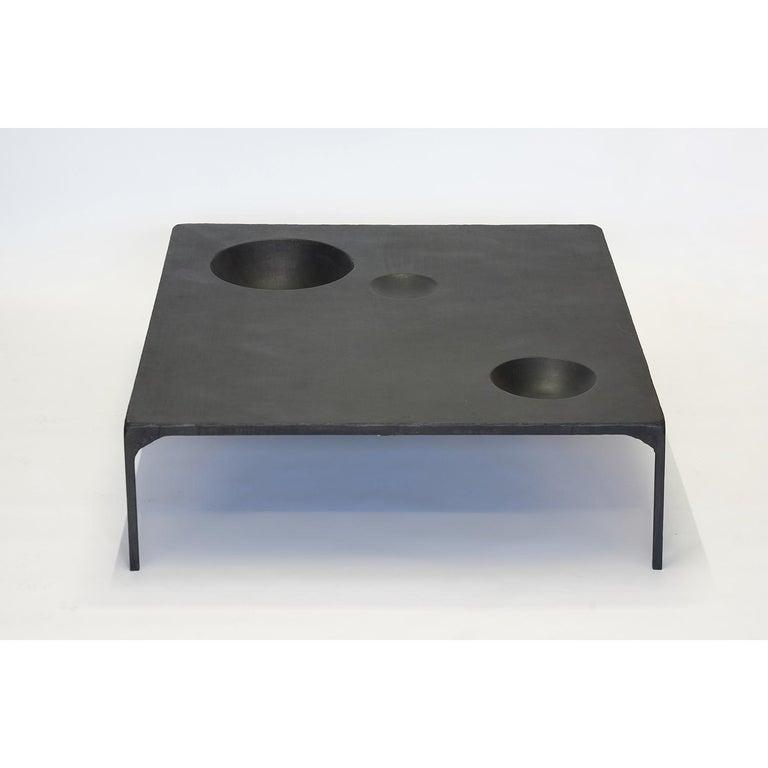 American Large Modern Coffee Table, Handmade, Geometric, Blacked Steel, by J.M. Szymanski For Sale