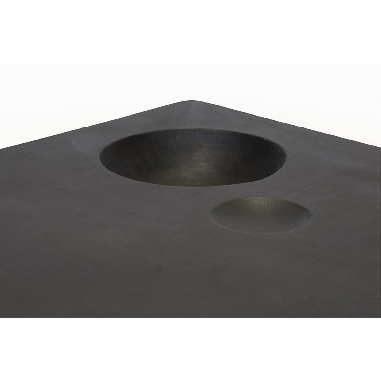 Large Modern Coffee Table, Handmade, Geometric, Blacked Steel, by J.M. Szymanski In New Condition For Sale In Bronx, NY