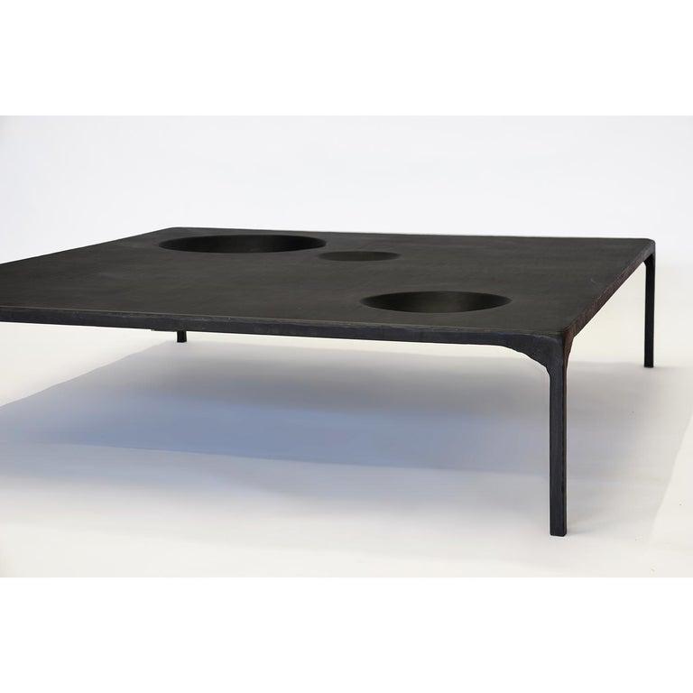 Large Modern Coffee Table, Handmade, Geometric, Blacked Steel, by J.M. Szymanski For Sale 1