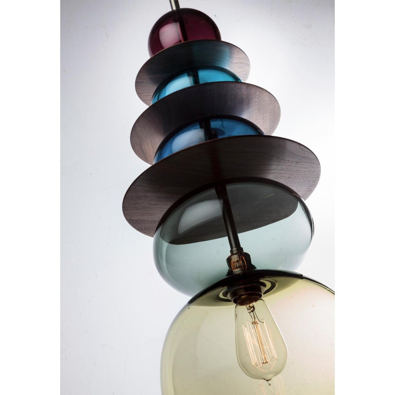 Moorish Large Modern Custom Made Oriental Sculptural Colored Glass Pendant / Chandelier For Sale