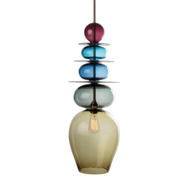 Large Modern Custom Made Oriental Sculptural Colored Glass Pendant / Chandelier For Sale