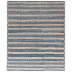 Large Modern Design Kilim Rug with Stripes in Shades of Blue, Taupe, and Ivory