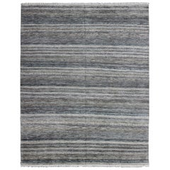 Large Modern Design striped Rug in Shades of Blue, Gray, Creams, and Charcoal