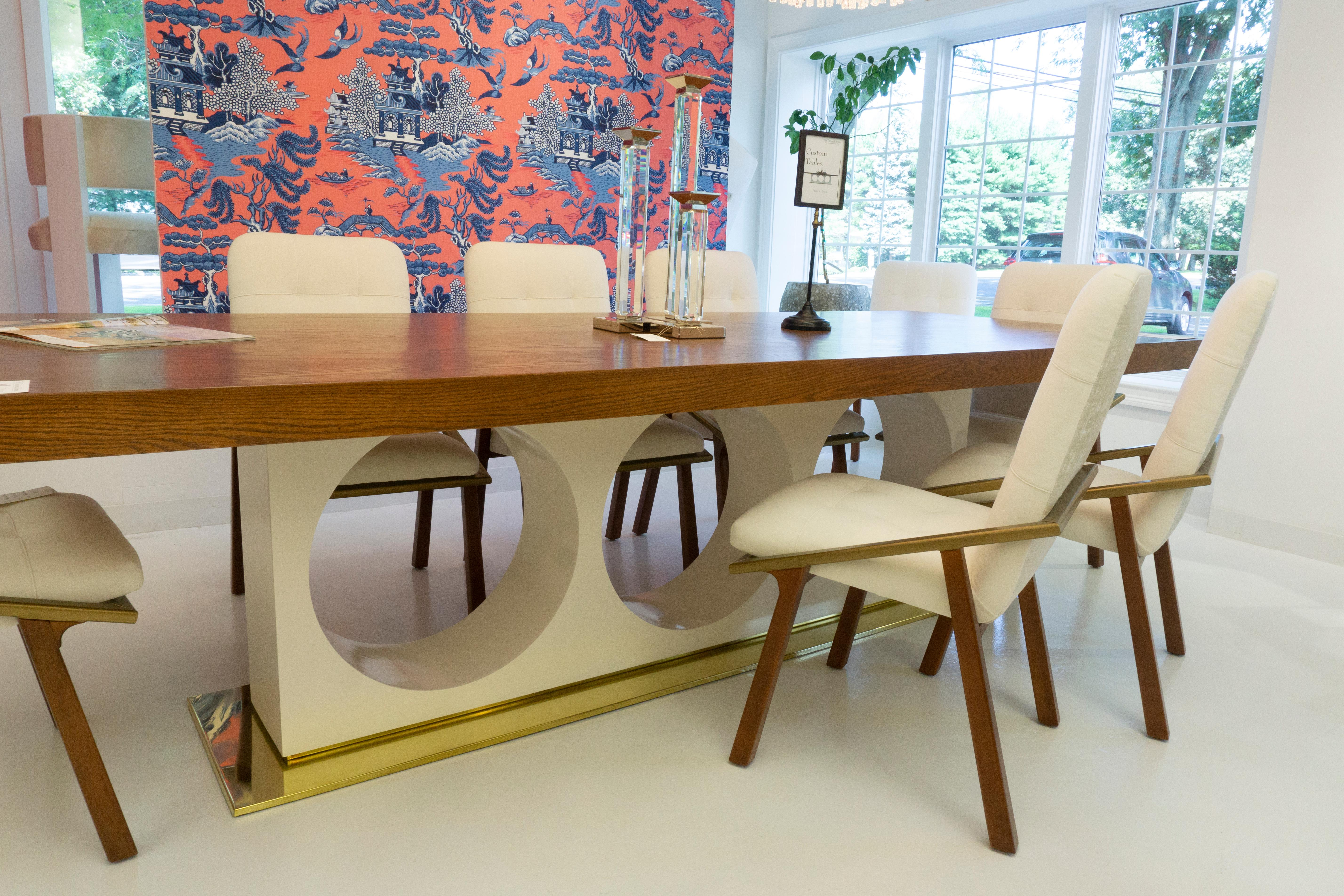 Large Modern Dining Table With Brass Base And Lacquered Pedestal