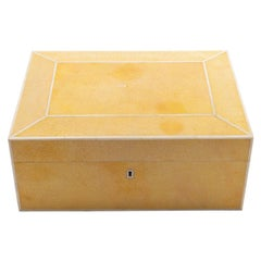 Large Modern English Yellow Shagreen Covered Humidor