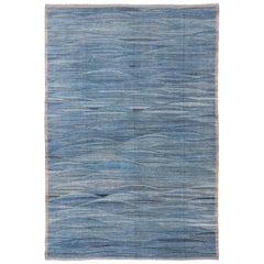 Large Modern Flat-Weave Kilim Rug with Wavy Design in Blue Tones