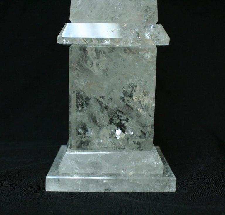 Hand-Carved Large Modern Hand Carved and Hand Polished Rock Crystal Obelisks For Sale