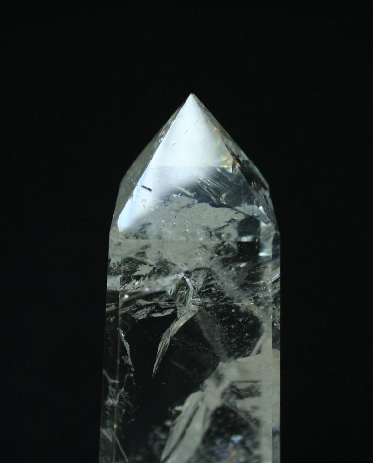 Large Modern Hand Carved and Hand Polished Rock Crystal Obelisks In Excellent Condition For Sale In Cypress, CA