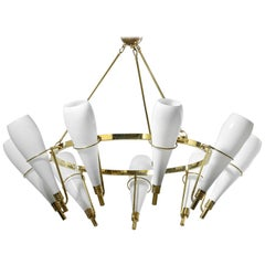 Large Modern Italian Chandelier in Style of Stilnovo or Arredoluce Opalin Brass