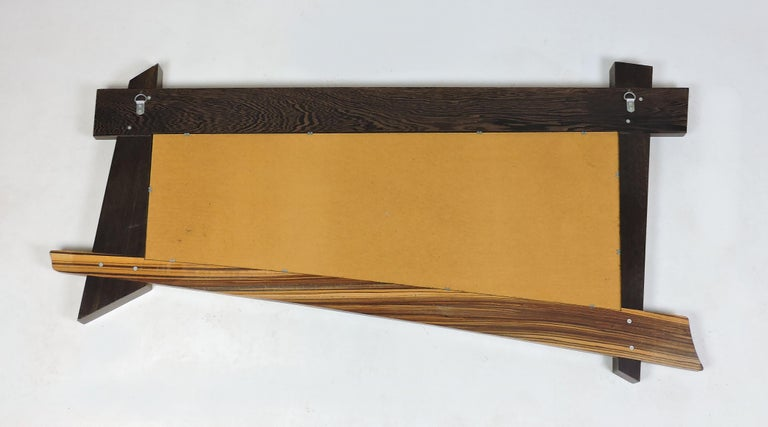 Large Modern Memphis Style Zebra Wood Asymmetrical Wall Mirror  For Sale 2