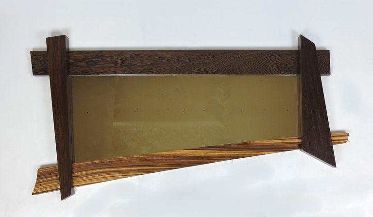 Large Modern Memphis Style Zebra Wood Asymmetrical Wall Mirror  For Sale 3