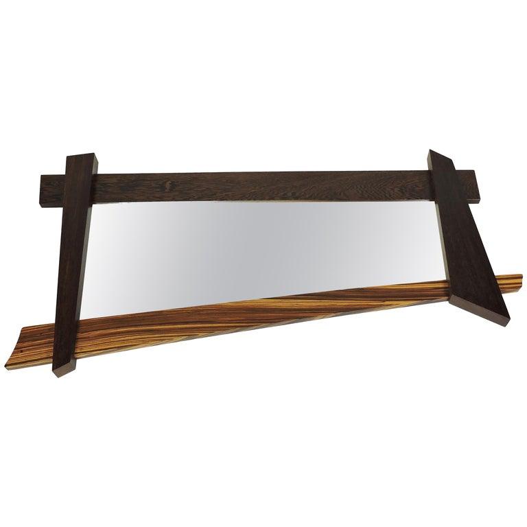 Large Modern Memphis Style Zebra Wood Asymmetrical Wall Mirror  For Sale