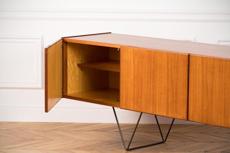 Veneer Large Modern Midcentury Sideboard Minimal Design For Sale