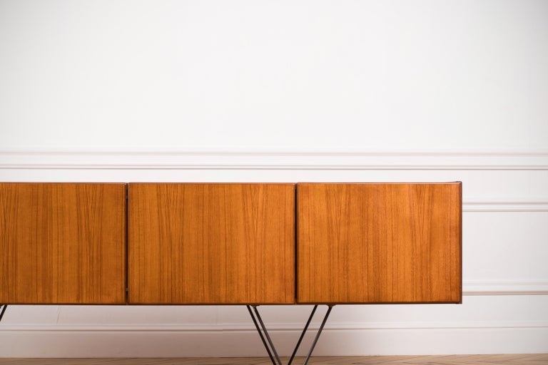 Teak Large Modern Midcentury Sideboard Minimal Design For Sale