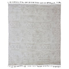 Large Modern Moroccan Design Rug with All Over Tribal Pattern in Taupe and White