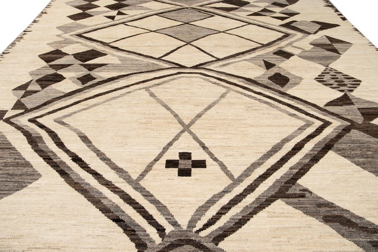 Large Modern Moroccan-Style Tribal Wool Rug For Sale 5