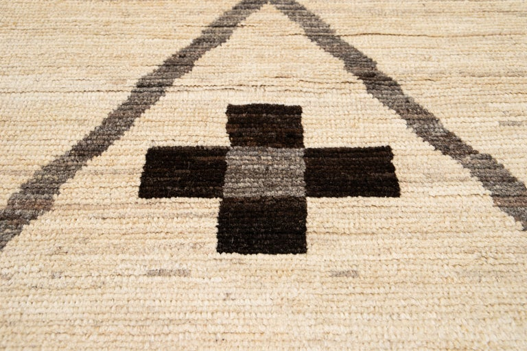 Large Modern Moroccan-Style Tribal Wool Rug For Sale 6