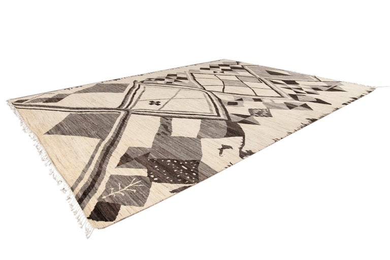 Large Modern Moroccan-Style Tribal Wool Rug For Sale 7