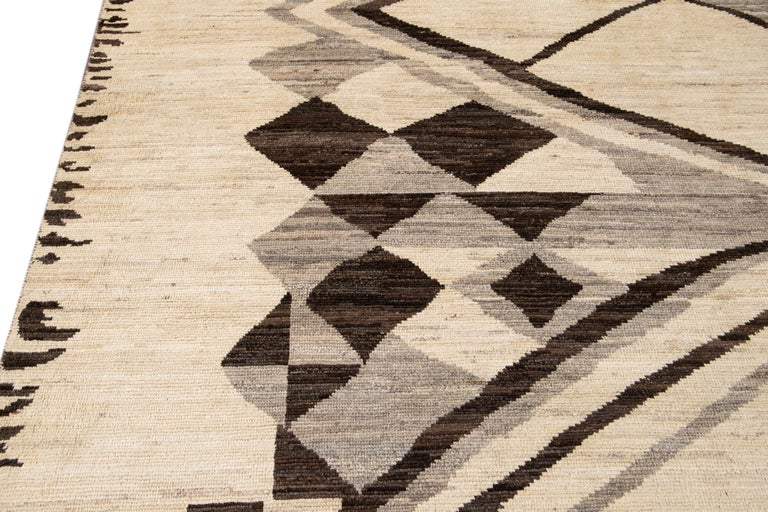 Large Modern Moroccan-Style Tribal Wool Rug For Sale 9