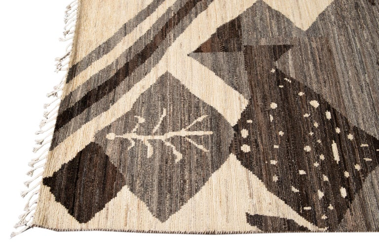 Large Modern Moroccan-Style Tribal Wool Rug For Sale 11