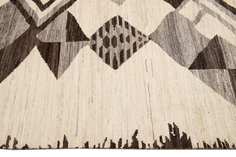 Large Modern Moroccan-Style Tribal Wool Rug For Sale 12