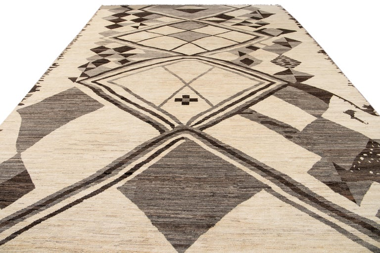 Hand-Knotted Large Modern Moroccan-Style Tribal Wool Rug For Sale