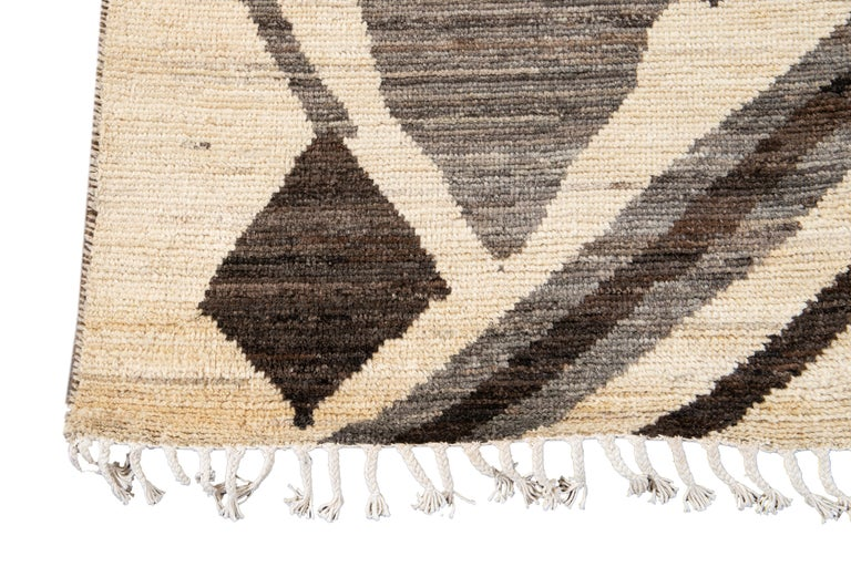 Contemporary Large Modern Moroccan-Style Tribal Wool Rug For Sale