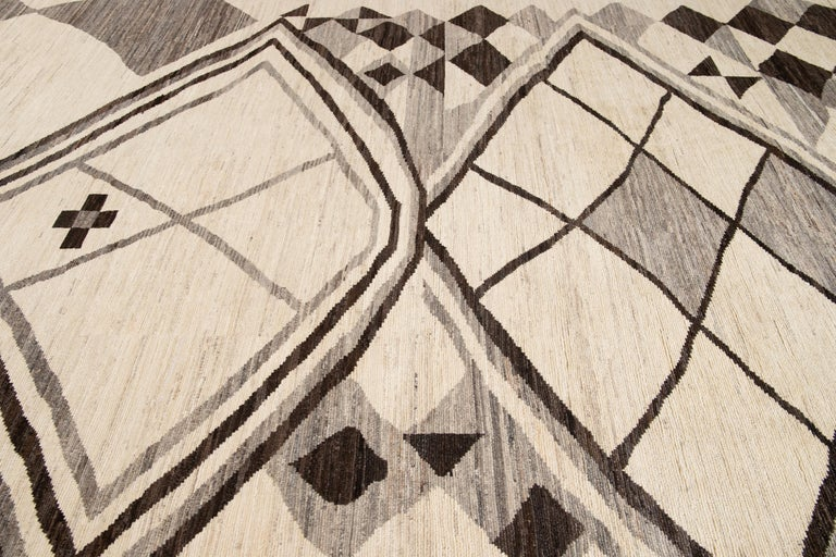 Large Modern Moroccan-Style Tribal Wool Rug For Sale 1