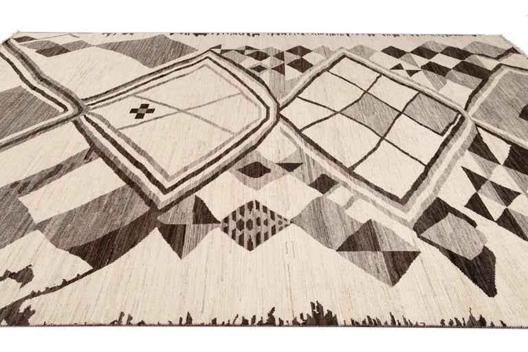 Large Modern Moroccan-Style Tribal Wool Rug For Sale 3