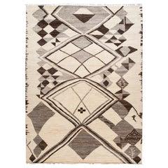 Large Modern Moroccan-Style Tribal Wool Rug