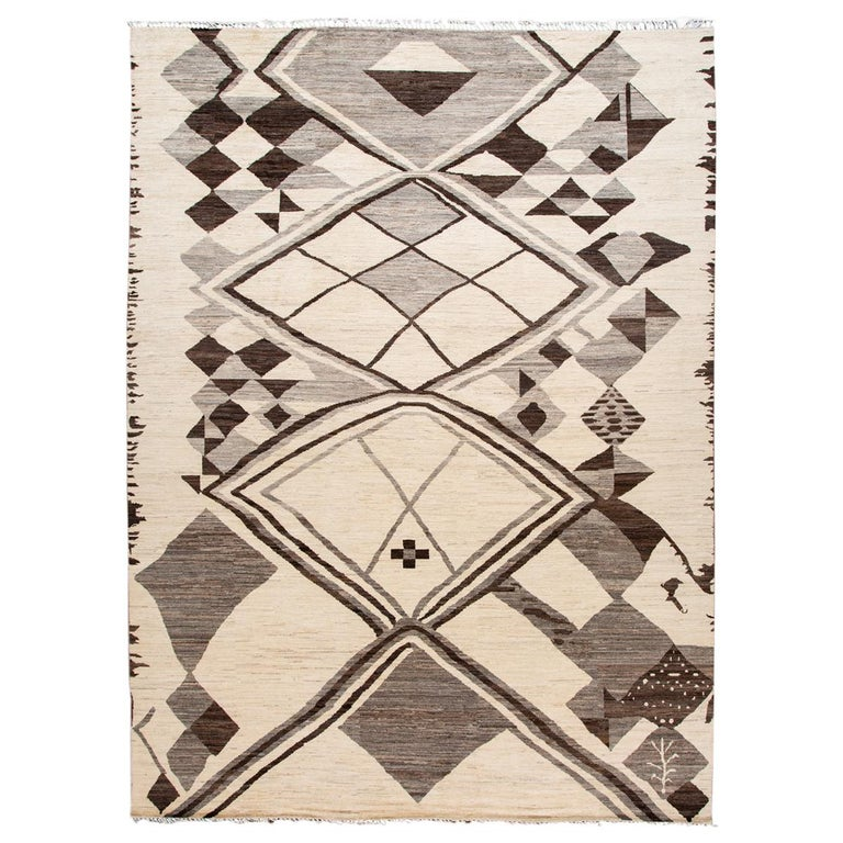 Large Modern Moroccan-Style Tribal Wool Rug For Sale