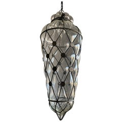 Large Venetian Style Mouth  Blown, Glass in Metal Frame Pendant Light / Fixture
